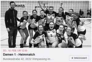 Volleyball Damen 1 - Heimspiel am 17.2.2019 @ Sporthalle Wimpassing