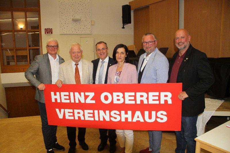 StR KommR Peter Spicker, Ehrenobmann Heinz Oberer, Bürgermeister Rupert Dworak, Obfrau Monika Moser, StR Gerhard Windbichler, GR Andreas Schönegger